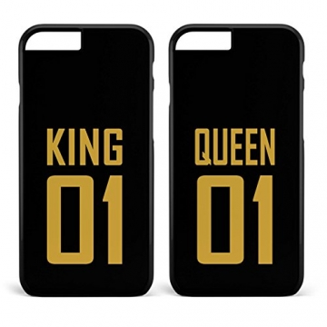 Doppelhülle 'King & Queen' schwarz | Apple iPhone 5 6 6 7 / Galaxy S5 S6 S7 etc., Hülle:Design 4, Handy:Samsung Galaxy S8 -