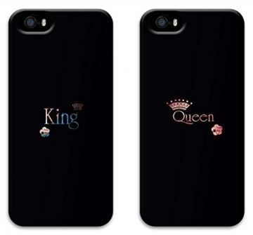 JIUBIE Two Pieces King and Queen Black Boyfriend and Girlfriend Couples Matching Cell Phone Cases for Iphone 5 5s Case – Christmas Gift -