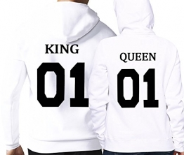 King Queen 01 Hoodies (Damen Gr. S + Herren Gr. M, Weiß) -