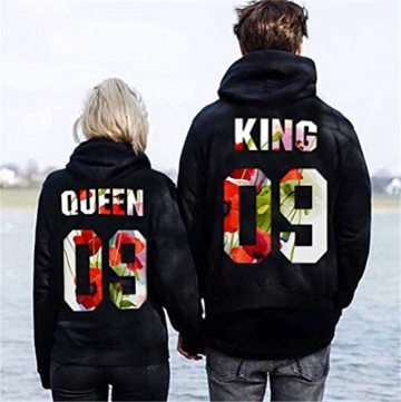 Pärchen-Hoodie KING & QUEEN ,Yezelend Couple Outfit Liebespaar Casual Pullover Schwarz Crew Neck Sweatshirt Tops (S, Damen-queen) -