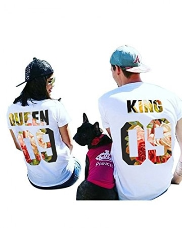Partner Look Pärchen T-Shirt Set King Queen T-Shirts Hochzeitstagsgeschenk Geburtstagsgeschenk Jahrestagsgeschenk -