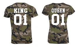 King und Queen Partner Tshirts camouflage partnerlook