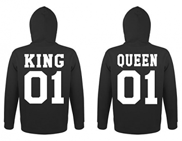"TRVPPY Partner Herren + Damen Hoodies ""KING & QUEEN"", Herren L, Damen M, Schwarz -"