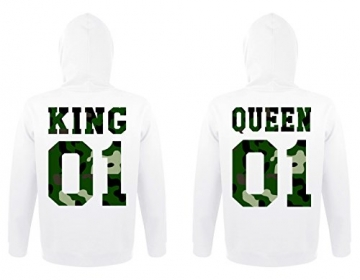 "TRVPPY Partner Herren + Damen Hoodies ""KING & QUEEN"", Herren L, Damen M, Weiß -"