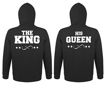 "TRVPPY Partner Herren + Damen Hoodies ""THE KING + HIS QUEEN"", Herren L, Damen M, Schwarz -"