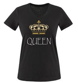 Comedy Shirts - QUEEN - Damen V-Neck T-Shirt - Schwarz / Weiss-Gold Gr. L -