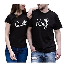 Jc.Kube Partner Look Pärchen T-Shirt Set King Queen T-Shirts Hochzeitstagsgeschenk Geburtstagsgeschenk Jahrestagsgeschenk -