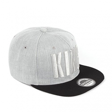 Johnny Chicos Snapback KING & QUEEN Grau Schwarz Damen Herren Top, Größe:One Size;Farbe:KING -