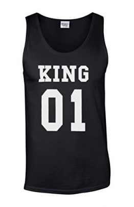 King Or Queen His And Hers Valentines Couple Novelty Black Men Herren Unterhemd Tank Top Vest Verschiedene Farben-M -
