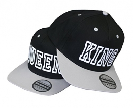 King & Queen Cap Snapback stylische Pärchen Basecap Partner Look Kappe Grau schw -