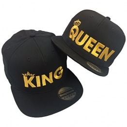 King Queen Pair Embroidered Rapper Cap Set Black -