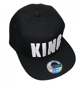 King Queen Snapback Cap Caps Herren Damen (King schwarz weiß) -
