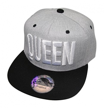 King Queen Snapback Cap Caps Herren Damen (Queen grau weiß) -