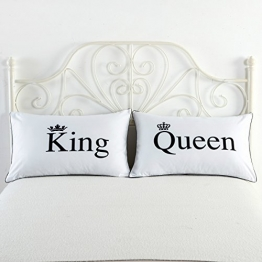 Kissenbezüge 2er Set Liebhaber Kissenhülle Kissenbezug Kopfkissenbezug Pillowcase Bettkissenbezug Sofa und Auto dekoration Kissenbezüge 74*48cm (the king queen) -