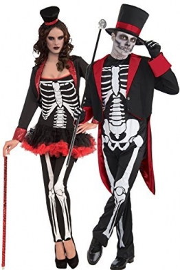 Paar Herren & Damen Mr & Mrs Skelett Tag der Toten Zuckerschädel Halloween Horror Kostüm Kostüme Outfits -