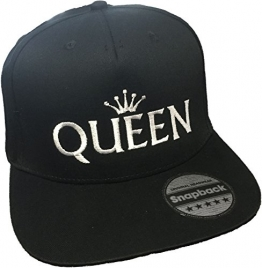Snapback Cap bestickt | KING & QUEEN | BLONDIE. & BROWNIE. | PRINCE & PRINCESS | Basecap - Mütze - Cappy (QUEEN - weiß) -
