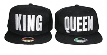 Snapback Cap Caps King & Queen für Damen & Herren (K&Q Black) -