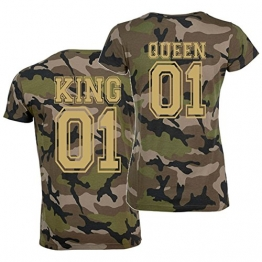 T-Shirt-Set KING oder QUEEN Partner-Shirts CAMO gold - Aufdruck hinten Damen L + Herren XL -