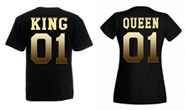 "TRVPPY Partner Herren + Damen T-Shirts ""KING & QUEEN"", Herren L, Damen M, Schwarz -"