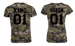 "TRVPPY Partner Pärchen Herren + Damen Camouflage T-Shirts ""KING & QUEEN"" in versch. Farben -"