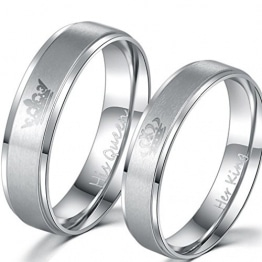 Yinew Silber her King his Queen Ring Titan Stahl Ring Schmuck -
